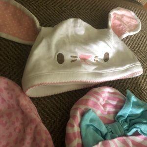 8 Infant Hats and 1 NEW Bib